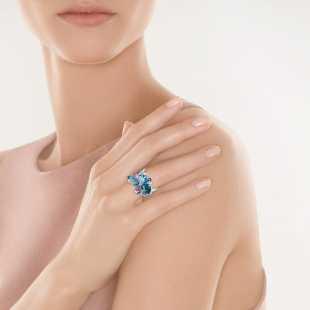 Кольцо из белого золота 585 пробы с бриллиантами, аметистами и топазами (17,25)