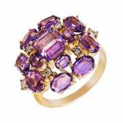 Кольцо из золота 585 пробы с аметистами и бриллиантами (18)...