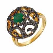 Кольцо из золота 585 пробы с бриллиантами и изумрудом (17)...