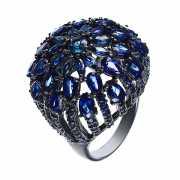 Кольцо из серебра 925 пробы с сапфирами (17,5)...
