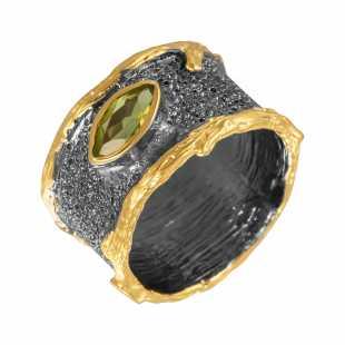 Кольцо из серебра 925 пробы с перидотами (17)