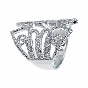 Кольцо из серебра 925 пробы с фианитами (17,25)