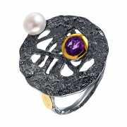 Кольцо из серебра 925 пробы с аметистами и культивированными...