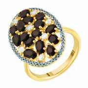 Кольцо из белого золота 585 пробы с ониксом, бриллиантами и ...