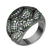 Кольцо из черного золота 750 пробы с бриллиантами и цаворита...