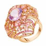 Кольцо из розового золота 585 пробы с аметистом, сапфирами и...