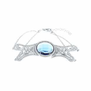 Браслет из серебра 925 пробы с фианитами и ювелирным стеклом