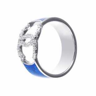 Кольцо из серебра 925 пробы с эмалью и фианитами (18)