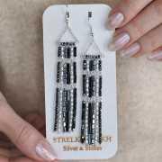 Серьги Silver&Stones из жемчуга, гематита и серебра...