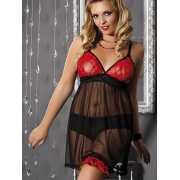 Соблазнительная черно-красная сорочка Andalea Colette – XXL...