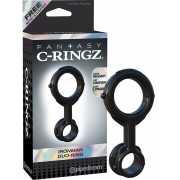 Эрекционное кольцо Ironman Duo-Ring на пенис и мошонку – чер...