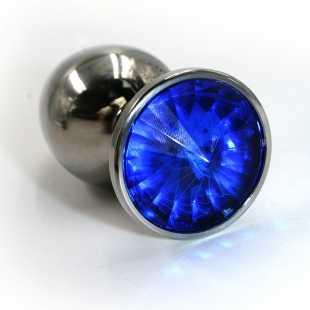 Большая алюминиевая анальная пробка Kanikule Large с кристаллом – серебристый с синим