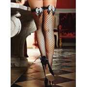 Чулки Careless French Maid высокие в крупную сетку – черные...
