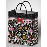 Подарочный пакет ламинированный с цветочным узором (264*327*...