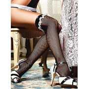 Чулки Private French Maid высокие в мелкую сетку – черные...