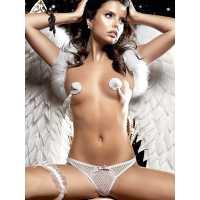 G-Стринги Back in Heaven из тюлевой ткани с нежными узорами – белые, M/L