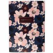 "Тетрадь ""Dark blue flowers"" А5, 24 листа, в клетку..."