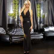 Черное вечернее платье в пол с открытой спиной...