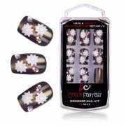 Бронзовые акриловые типсы с цветами и кристаллами Bronze Bea...